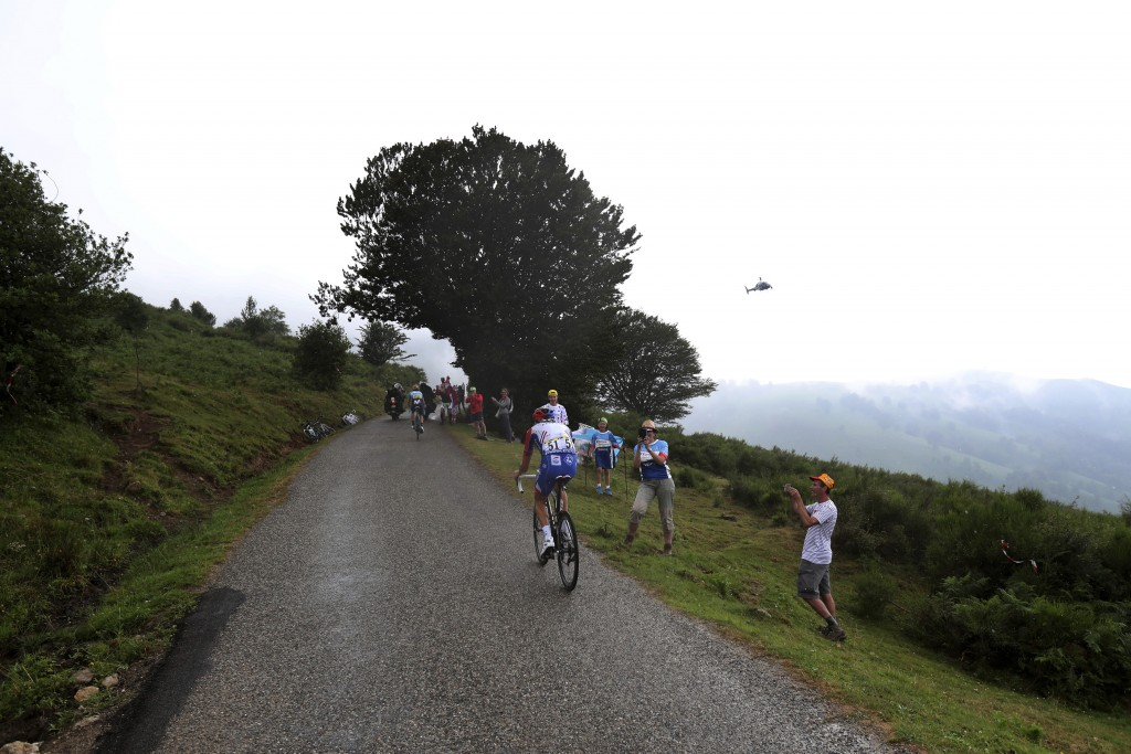 France's Thibaut Pinot climbs Prat d'Albis during the fifteenth stage of the Tour de France cycling race over 185 kilometers (114,95 miles) with start...