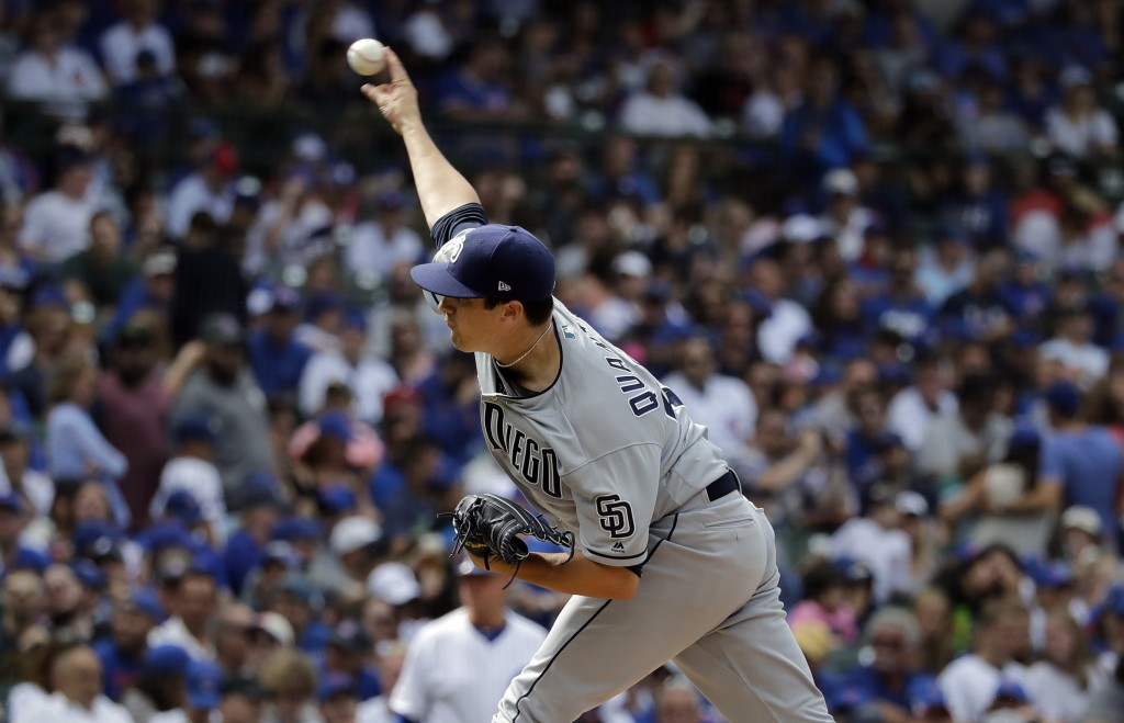 San Diego Padres relief pitcher Cal Quantrill throws against the Chicago Cubs during the eighth inning of a baseball game in Chicago, Sunday, July 21,...