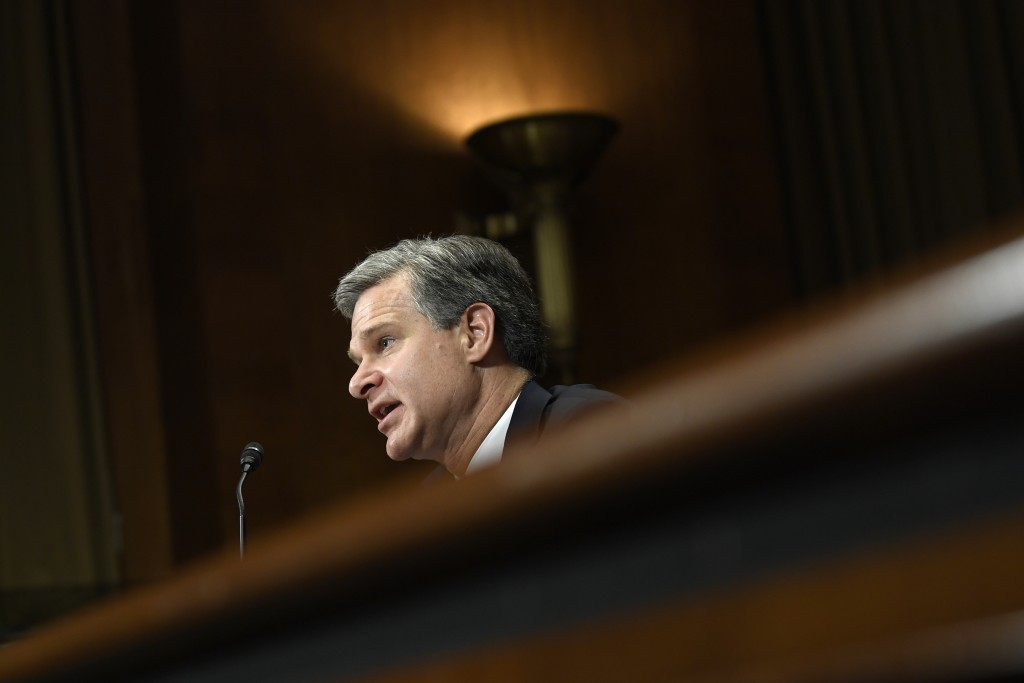 FBI Director Christopher Wray testifies before the Senate Judiciary Committee on Capitol Hill in Washington, Tuesday, July 23, 2019. Wray's appearance