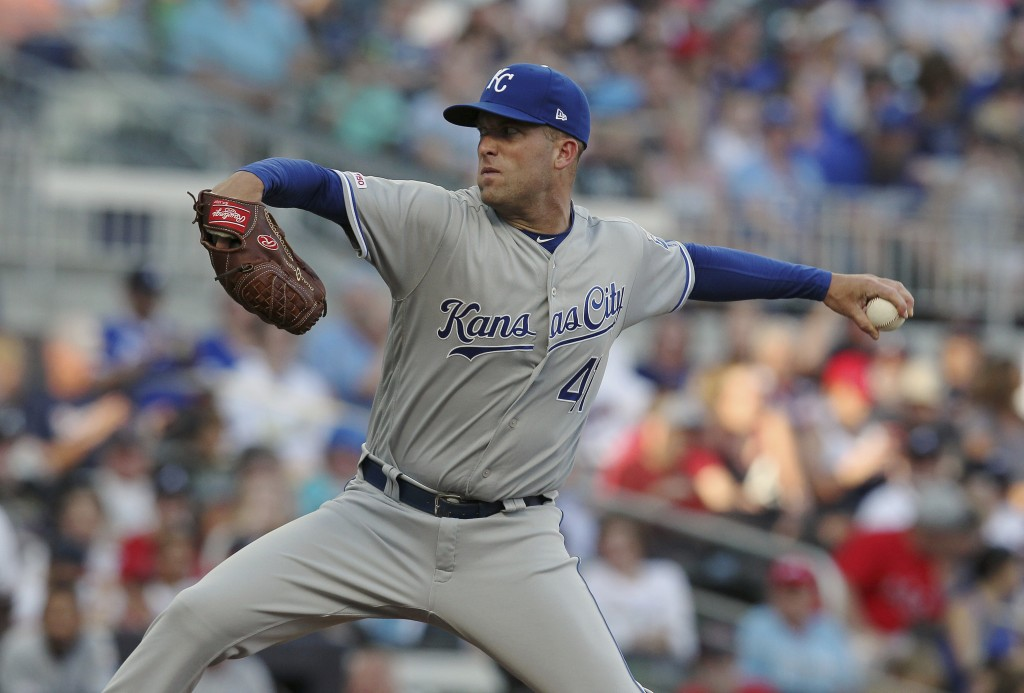 Kansas City Royals Danny Duffy pitches against the Atlanta Braves during the first inning of a baseball game Tuesday, July 23, 2019, in Atlanta. (AP P