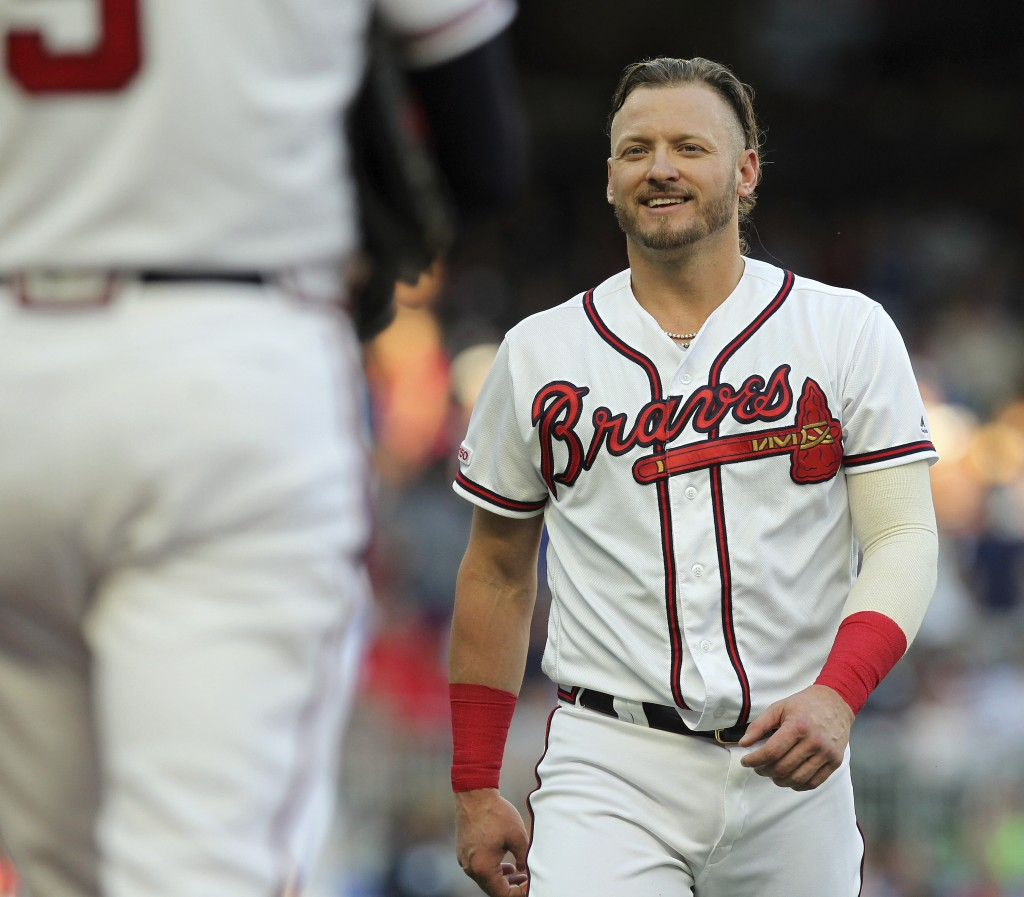 Atlanta Braves Josh Donaldson smiles after batting in a run against the Kansas City Royals during the first inning of a baseball game Tuesday, July 23...