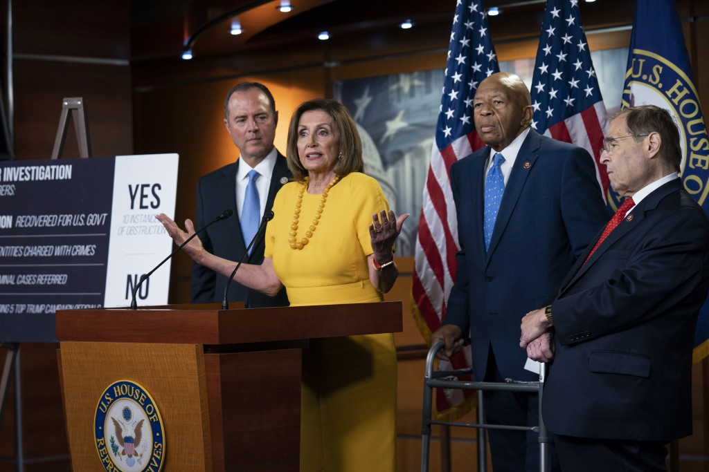 From left, House Intelligence Committee Chairman Adam Schiff, D-Calif., Speaker of the House Nancy Pelosi, D-Calif., House Oversight and Reform Commit...