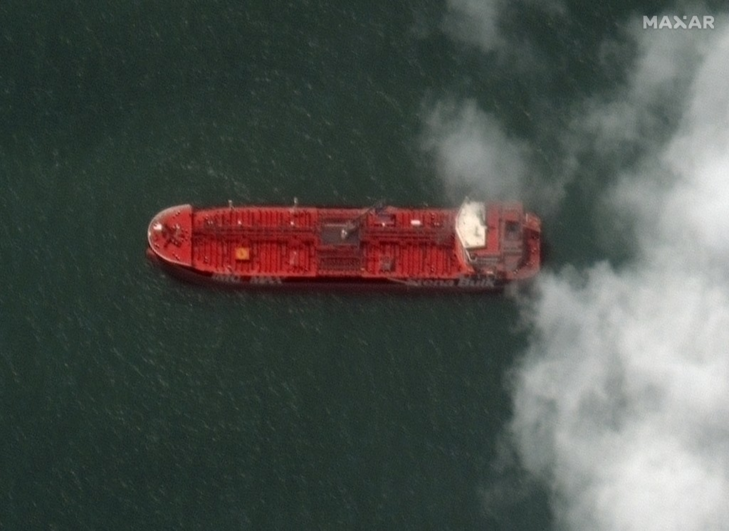 This Monday, July 22, 2019 Maxar Technologies shows a close up of British-flagged oil tanker Stena Impero at the Iranian port city of Bandar Abbas.  P