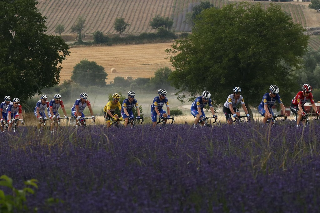 The pack passes a lavender field during the seventeenth stage of the Tour de France cycling race over 200 kilometers (124,27 miles) with start in Pont...