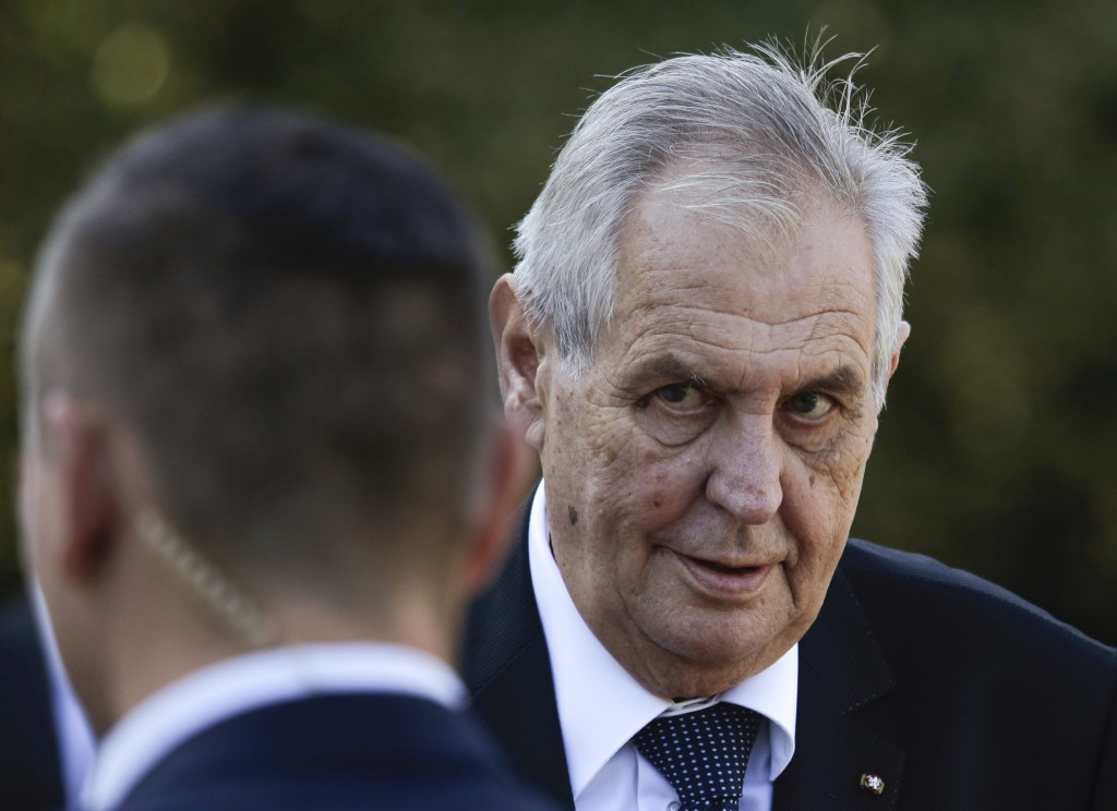 FILE- In this Friday, Sept. 21, 2018 file photo, Czech President Milos Zeman arrives for a meeting with German President Frank-Walter Steinmeier at th...