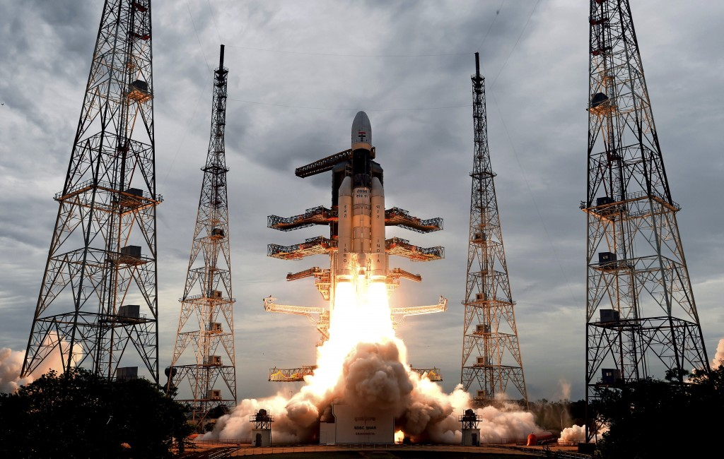 This July 22, 2019, photo released by the Indian Space Research Organization (ISRO) shows its Geosynchronous Satellite launch Vehicle (GSLV) MkIII car...