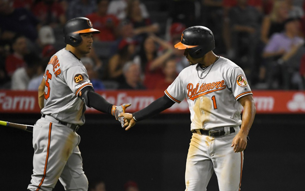 Baltimore Orioles' Richie Martin, right, is congratulated by Anthony Santander after scoring on a single by Renato Nunez during the fifth inning of a ...