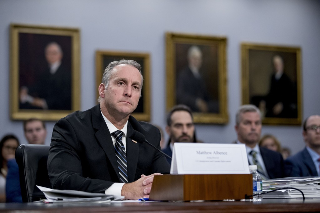FILE - In this July 25, 2019 file photo, Immigration and Customs Enforcement Acting Director Matthew Albence appears before a Homeland Security Subcom...