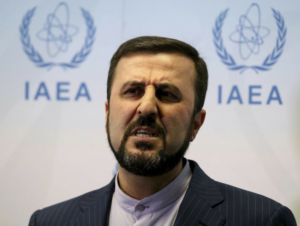 FILE - In this July 10, 2019, file photo,. Iran's Ambassador to the International Atomic Energy Agency, IAEA, Gharib Abadi speaks to the media after t