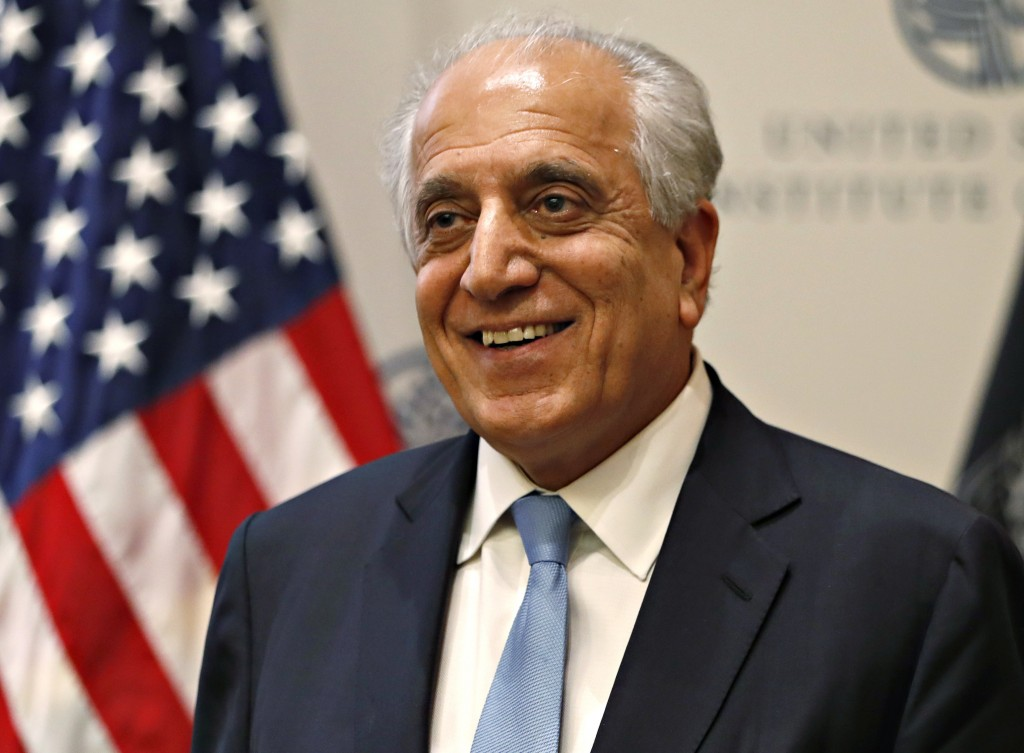 FILE - In this Feb. 8, 2019, file photo, Special Representative for Afghanistan Reconciliation Zalmay Khalilzad at the U.S. Institute of Peace, in Was