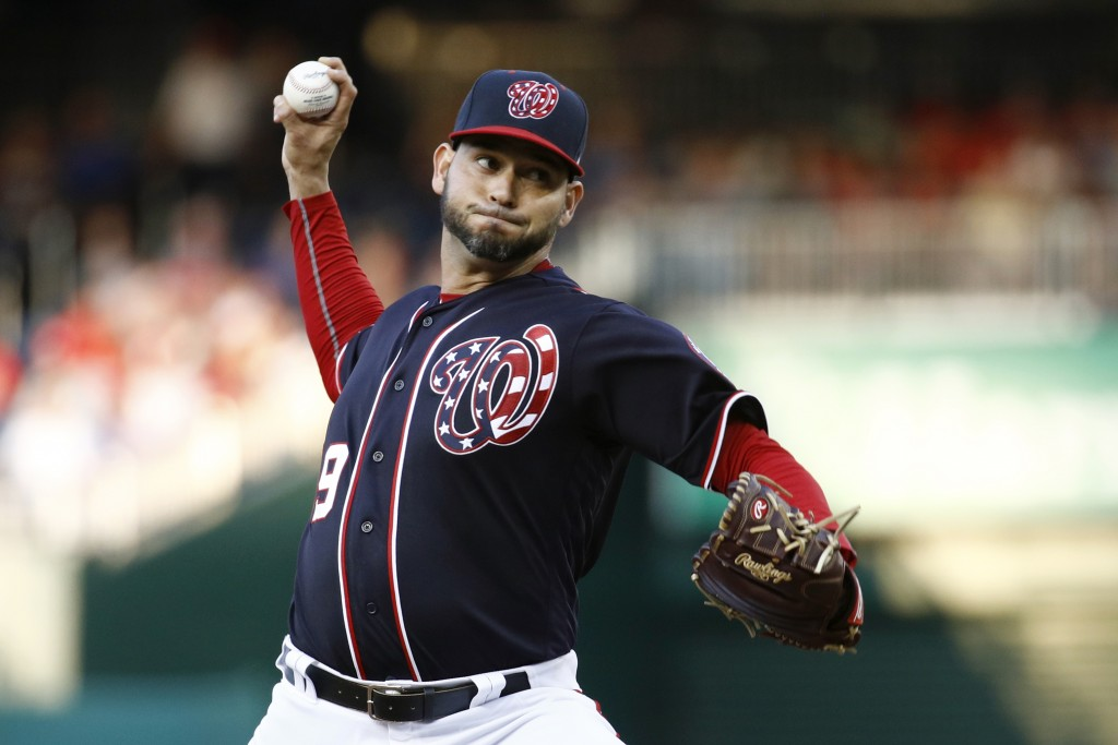 Washington Nationals starting pitcher Anibal Sanchez throws to the Los Angeles Dodgers in the second inning of a baseball game, Friday, July 26, 2019,...