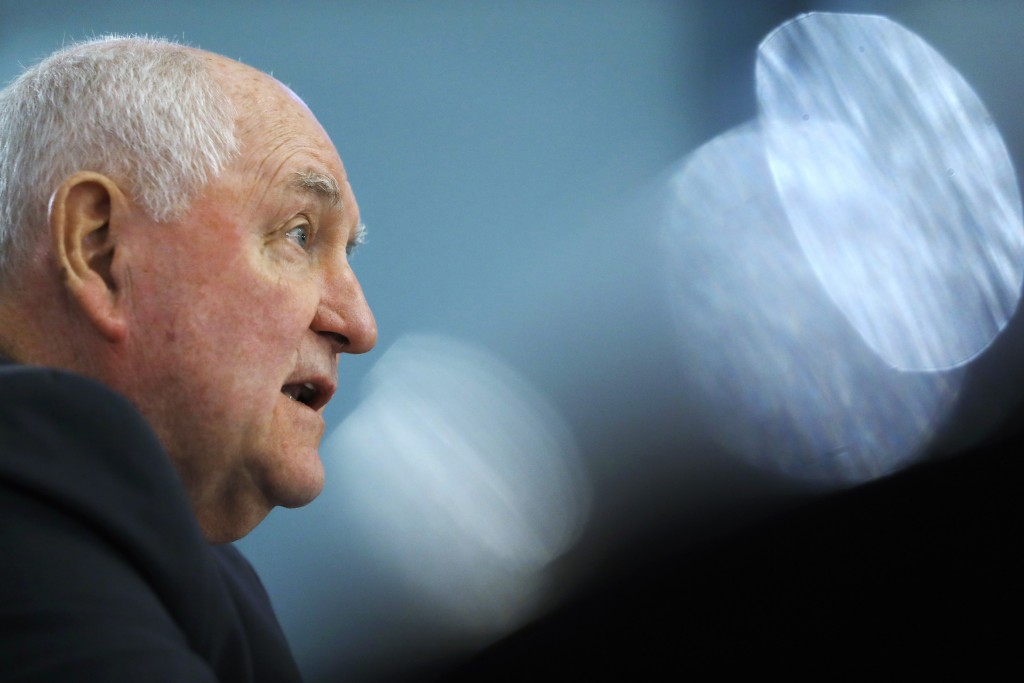 FILE - In this Feb. 27, 2019, file photo, Agriculture Secretary Sonny Perdue testifies during a House Agriculture Committee hearing on Capitol Hill in...