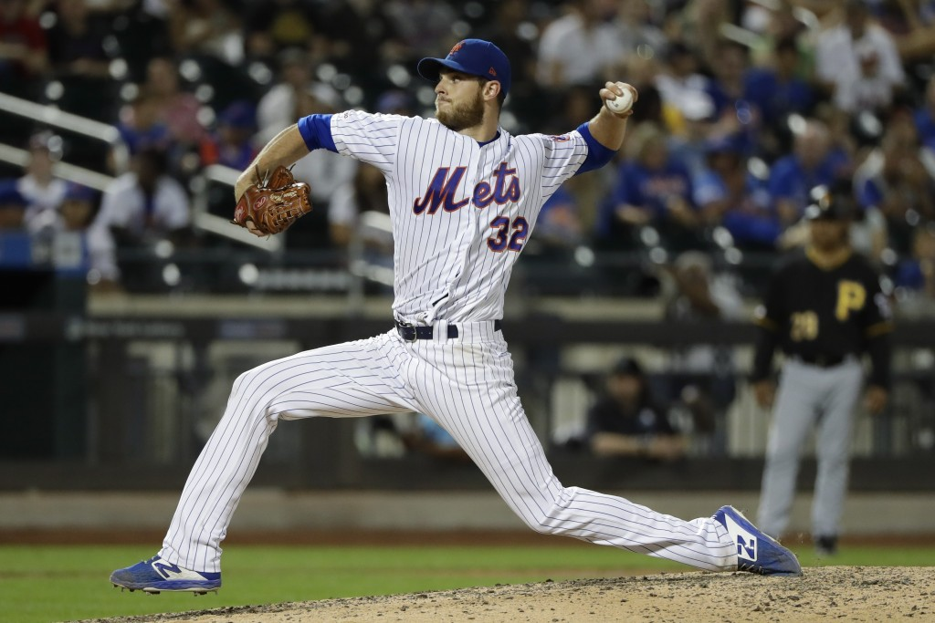 New York Mets' Steven Matz delivers a pitch during the ninth inning of a baseball game against the Pittsburgh Pirates, Saturday, July 27, 2019, in New...