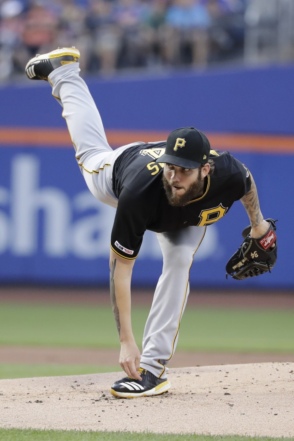 Pittsburgh Pirates' Trevor Williams delivers a pitch during the first inning of a baseball game against the New York Mets, Saturday, July 27, 2019, in...