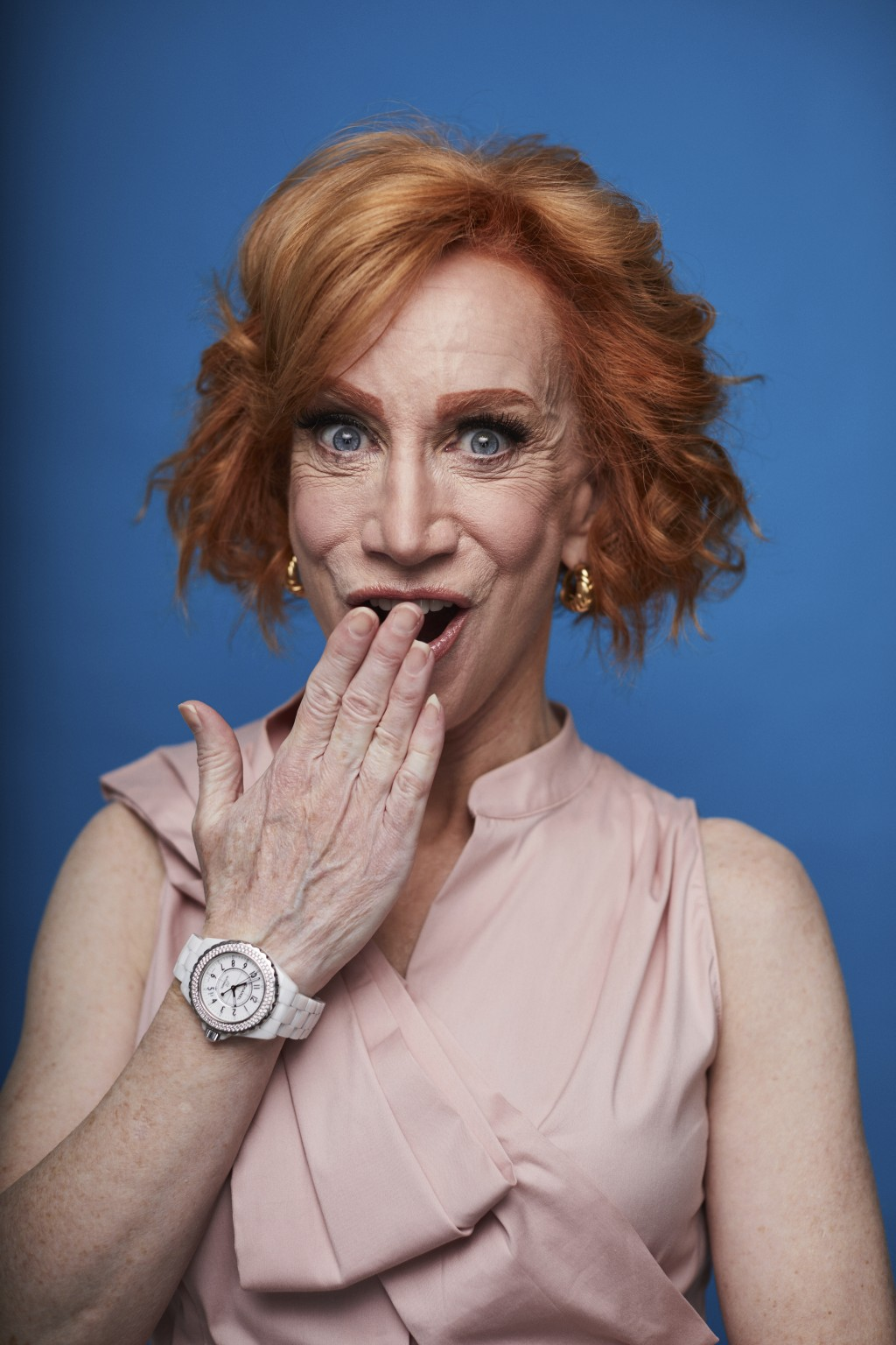 """This July 16, 2019 photo shows Kathy Griffin posing for a portrait in New York to promote her film """"Kathy Griffin: A Hell of a Story,"""" in select theat..."""