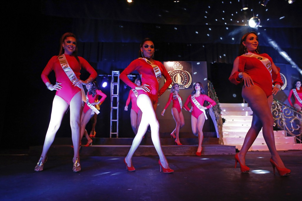 Contestants in the Miss Transgender Beauty pageant from the states of Nuevo Leon, San Luis Potosi and Chiapas dance during the opening event in Mexico