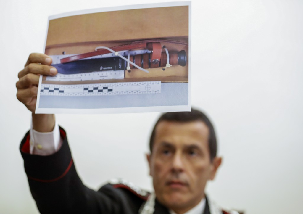 Carabinieri Colonel Lorenzo D'Aloia shows a picture of the knife used to stab Carabinieri's officer Mario Cerciello Rega, during a press conference in...
