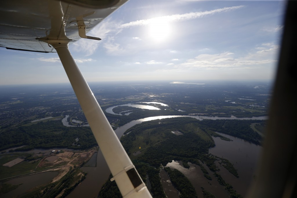 In this June 7, 2017 photo, the Red River is seen in this aerial photo from a private plane near Shreveport, La.  The Department of Homeland Security ...