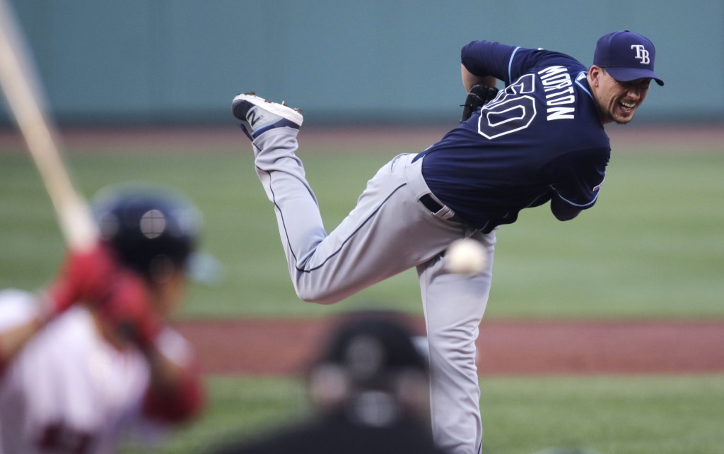 Tampa Bay Rays starting pitcher Charlie Morton delivers during the first inning against the Boston Red Sox in a baseball game at Fenway Park in Boston...
