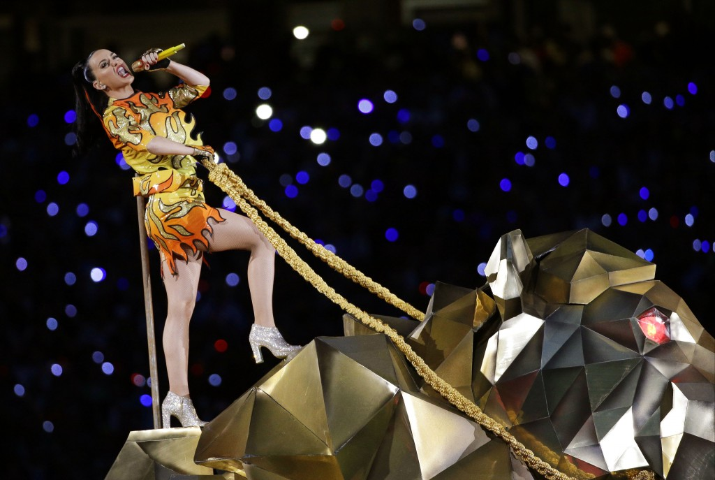 FILE - In this Sunday, Feb. 1, 2015 file photo, singer Katy Perry performs during halftime of NFL Super Bowl XLIX football game between the Seattle Se