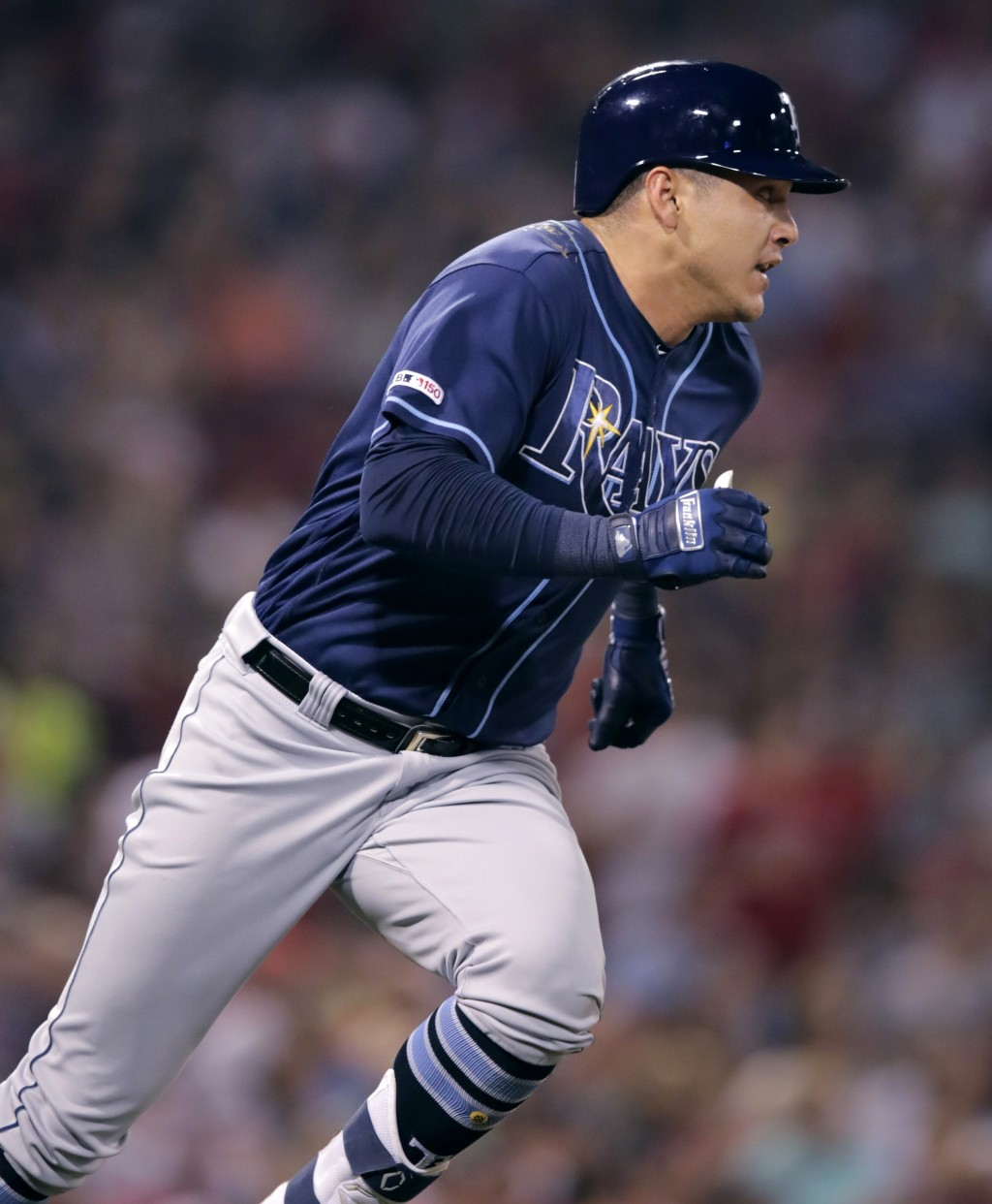 Tampa Bay Rays' Avisail Garcia dashes down the first base line on his two-run double during the sixth inning of the team's baseball game against the B...