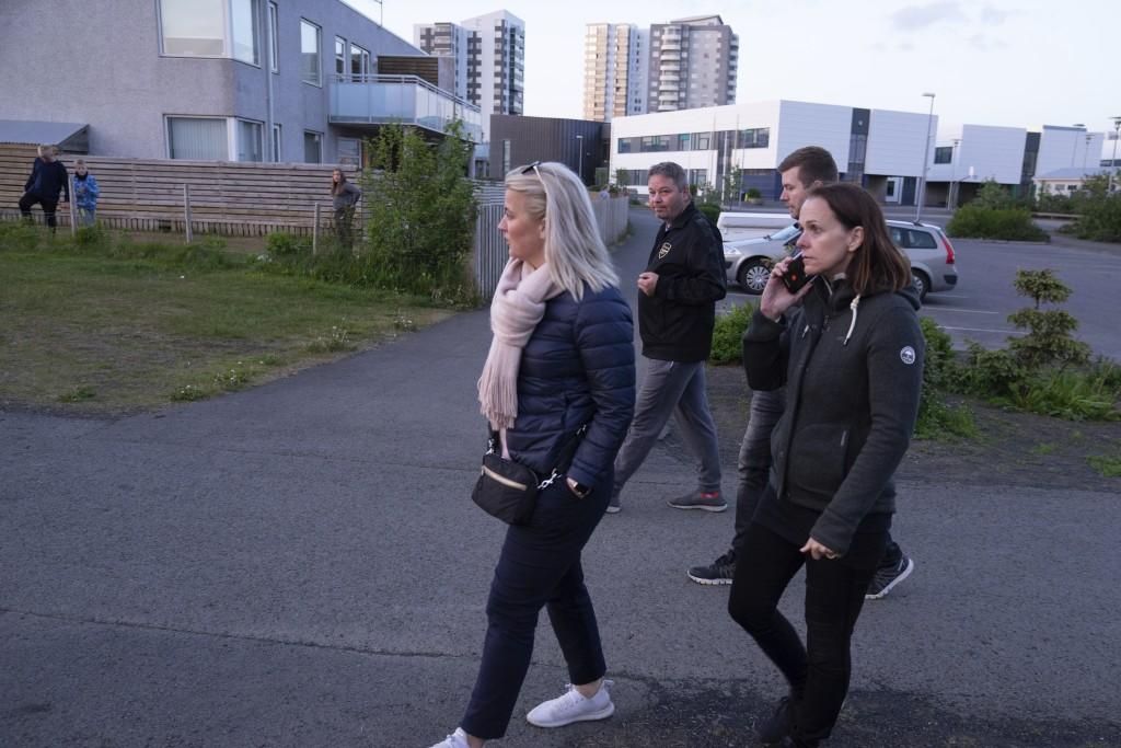 "This photo taken Friday 15, June, 2019 shows Linda Hilmarsdottir, Josep Gunnarsson, Marta Sigurjonsdottir, Heidar Atlason, who are part of the ""Parent..."