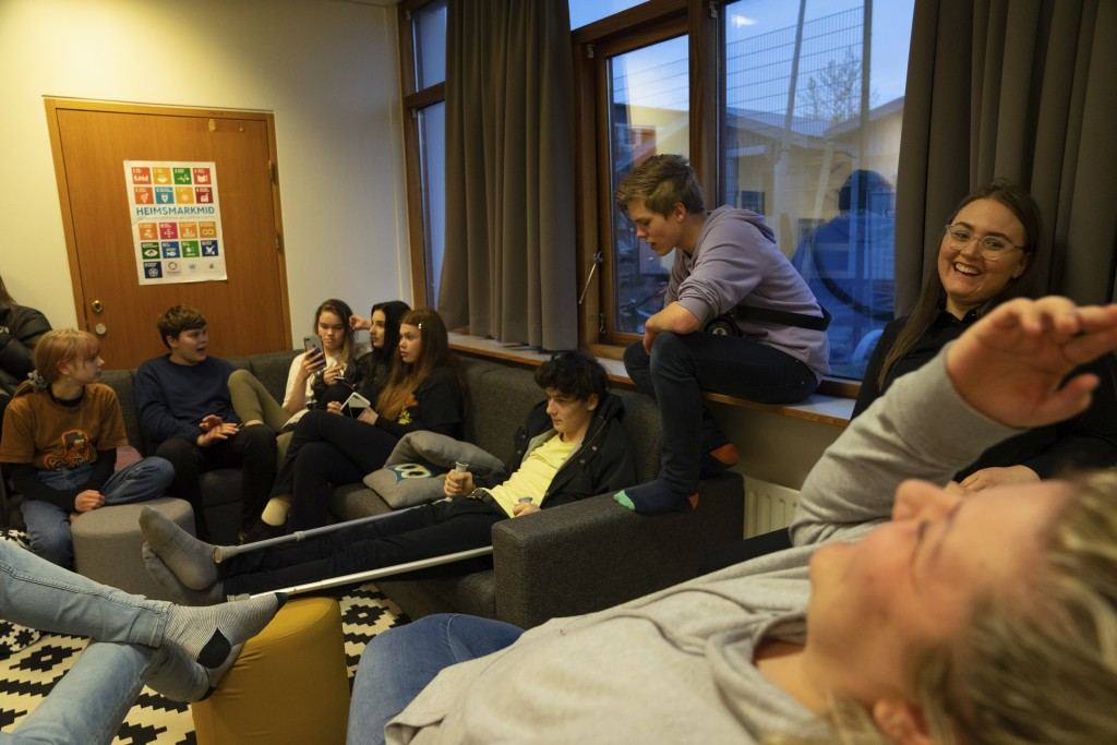 This photo taken Monday, May 13, 2019, teenagers up to the age of 17 gathered at the Tjornin youth center in Reykjavik.  Iceland has dried up a teenag