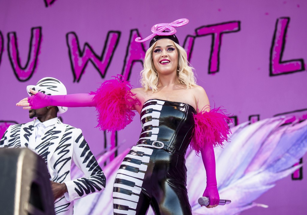 FILE - This April 27, 2019 file photo shows Katy Perry at the New Orleans Jazz and Heritage Festival in New Orleans. The penalty phase in a copyright