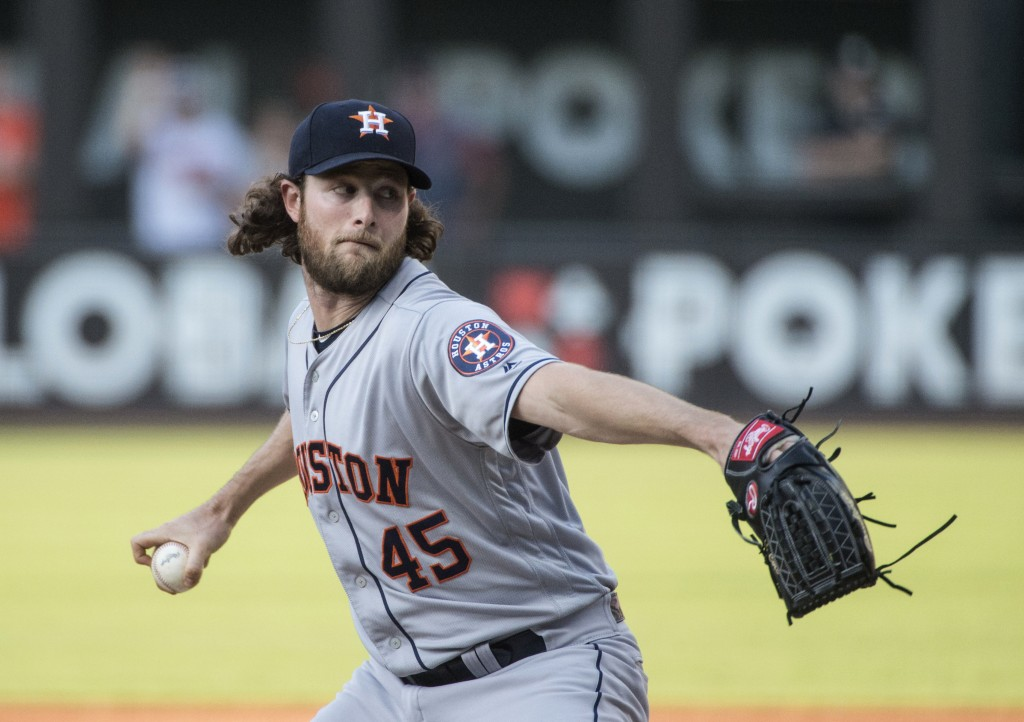 Houston Astros starting pitcher Gerrit Cole throws to a Cleveland Indians batter during the first inning of a baseball game in Cleveland, Thursday, Au...