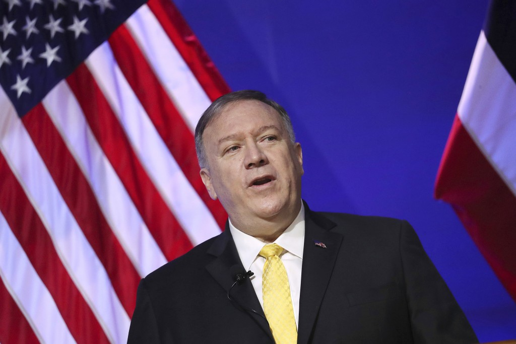 U.S. Secretary of State Mike Pompeo delivers a speech at Siam Society in Bangkok, Thailand Friday, Aug. 2, 2019 on the sidelines of the Association of...