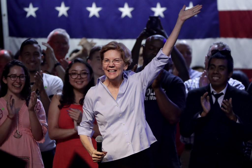 Democratic presidential candidate Sen. Elizabeth Warren, D-Mass., speaks during a town hall campaign stop, Thursday, Aug. 1, 2019, in Tempe, Ariz. (AP...