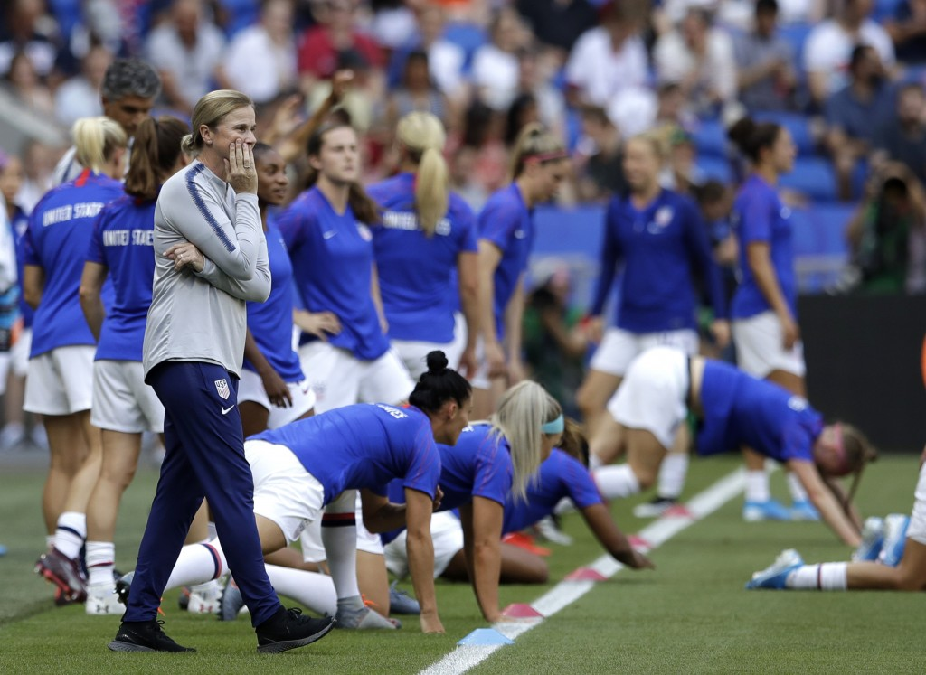 FILE - In this July 7, 2019, file photo, U.S. coach Jill Ellis watches her players warm up for the tema's Women's World Cup soccer final against the N...