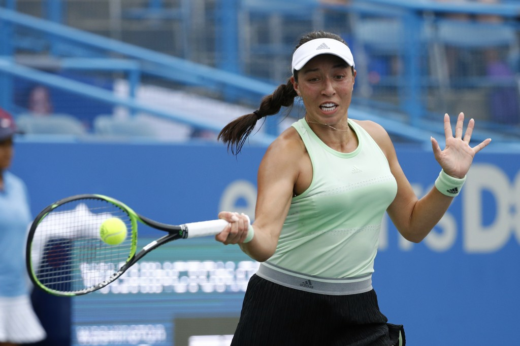 Jessica Pegula returns the ball during a semifinal match against Anna Kalinskaya, of Russia, at the Citi Open tennis tournament, Saturday, Aug. 3, 201