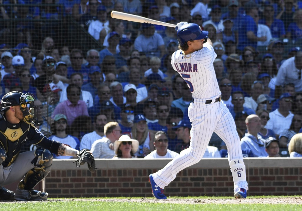Chicago Cubs' Albert Almora Jr. (5) hits a home run against the Milwaukee Brewers during the seventh inning of a baseball game, Saturday, Aug. 3, 2019...