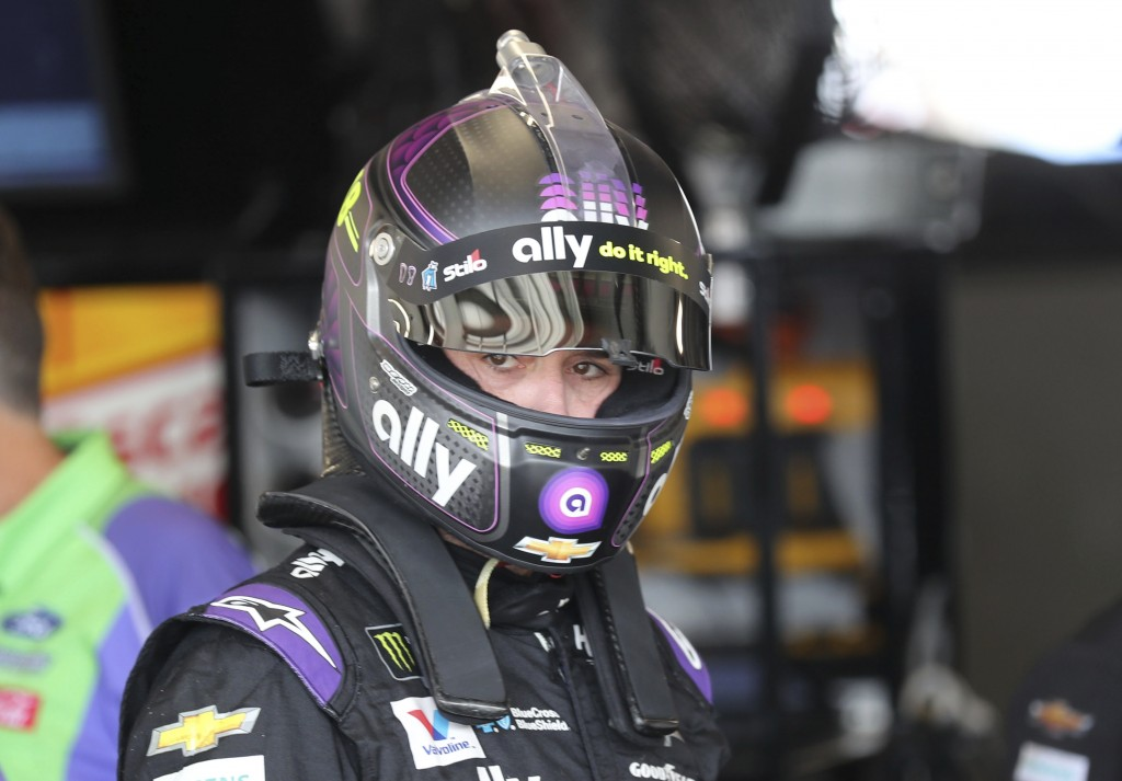 Jimmie Johnson gets ready to head out for the second practice run for the NASCAR Cup Series auto race at Watkins Glen International, Saturday, Aug. 3,