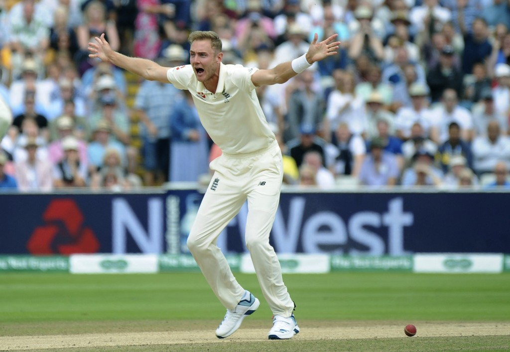 England's Stuart Broad makes an unsuccessful LBW appeal, during day four of the first Ashes Test cricket match between England and Australia at Edgbas...