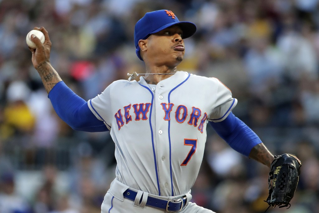 New York Mets starting pitcher Marcus Stroman delivers during the first inning of the team's baseball game against the Pittsburgh Pirates in Pittsburg...