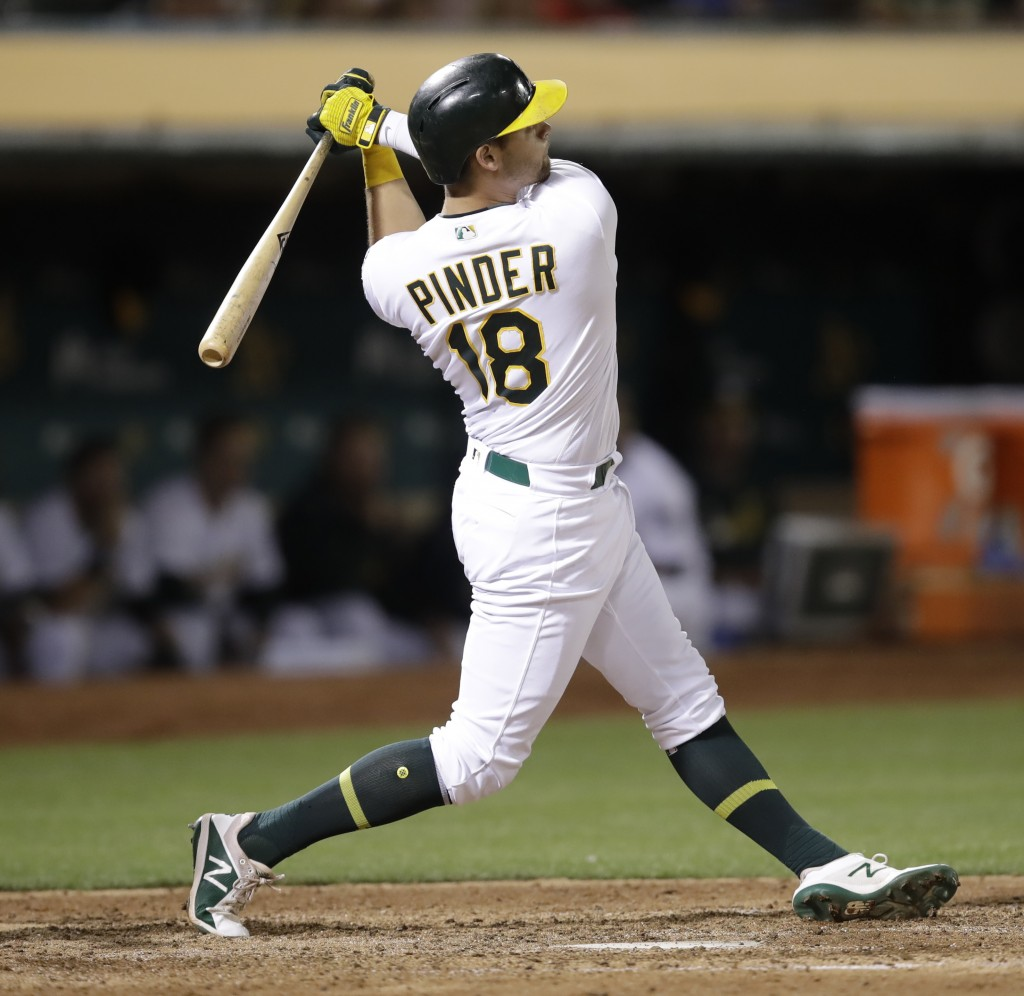 Oakland Athletics' Chad Pinder watches his three-run home run off St. Louis Cardinals' Tyler Webb during the seventh inning of a baseball game Saturda...