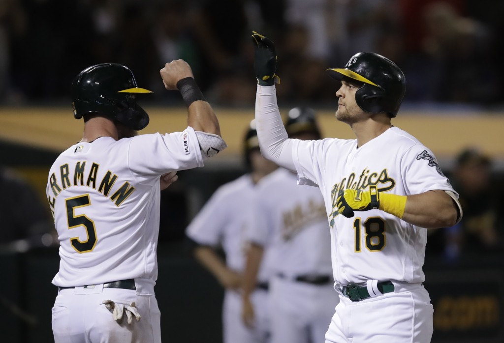 Oakland Athletics' Chad Pinder, right, celebrates with Chris Herrmann (5) after hitting a three-run home run off St. Louis Cardinals' Tyler Webb durin...