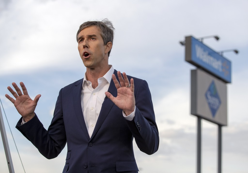 Presidential candidate and former congressman Beto O'Rourke speaks with the media outside the Walmart store in the aftermath of a mass shooting in El