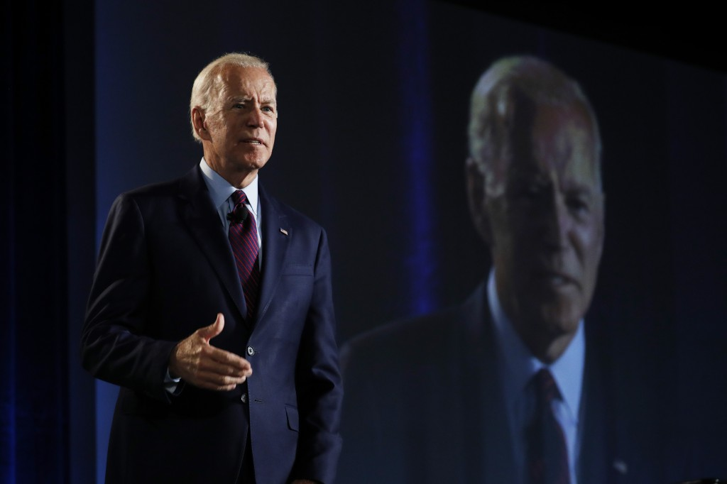 Former Vice President and Democratic presidential candidate Joe Biden speaks during a public employees union candidate forum Saturday, Aug. 3, 2019, i...