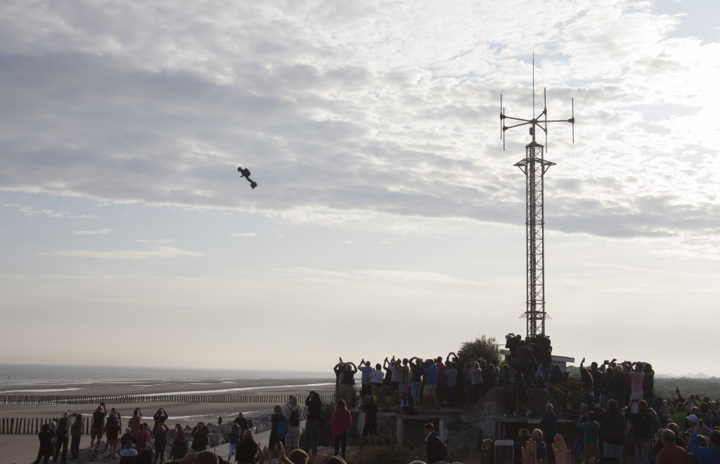 Franky Zapata, a 40-year-old inventor, takes to the air in Sangatte, Northern France, at the start of his attempt to cross the channel from France to