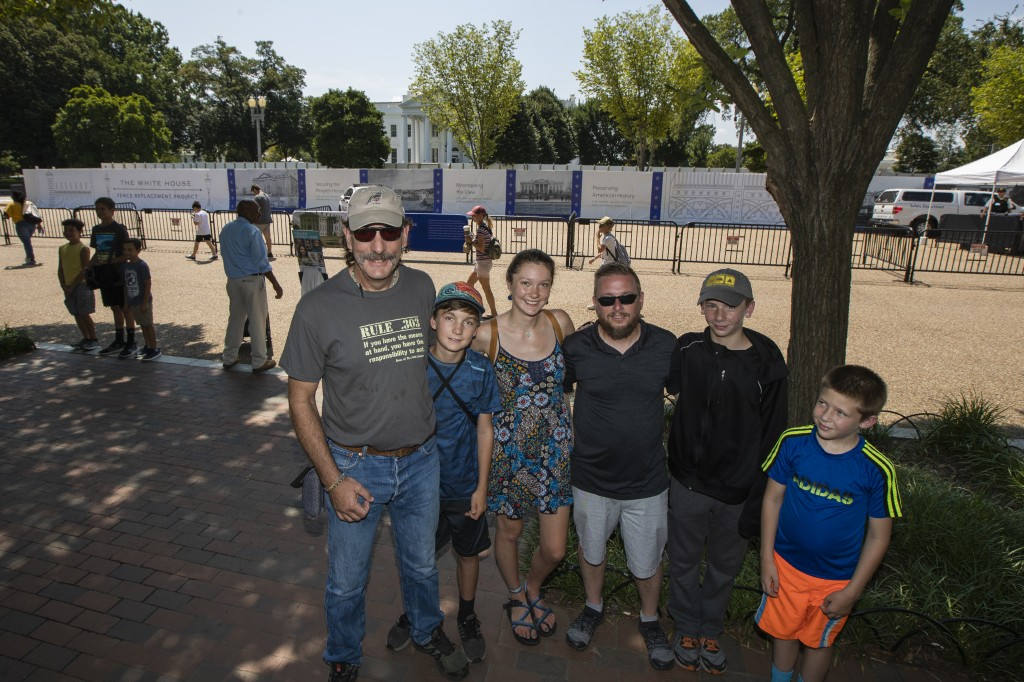 Joe Loetscher, from left, from Colorado Springs, Colo., and his family, Casey Marsden-Loetscher, Delaney Marsden-Loetscher, Matt Bonser, Jack Bonser a