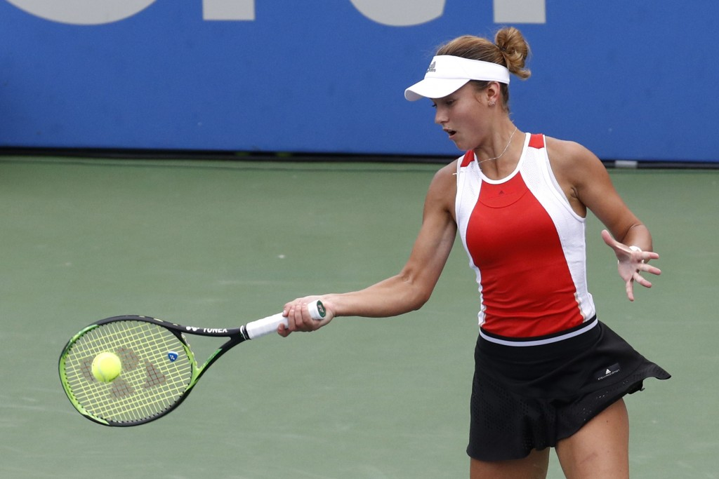 Anna Kalinskaya, of Russia, returns the ball during a semifinal match against Jessica Pegula at the Citi Open tennis tournament, Saturday, Aug. 3, 201