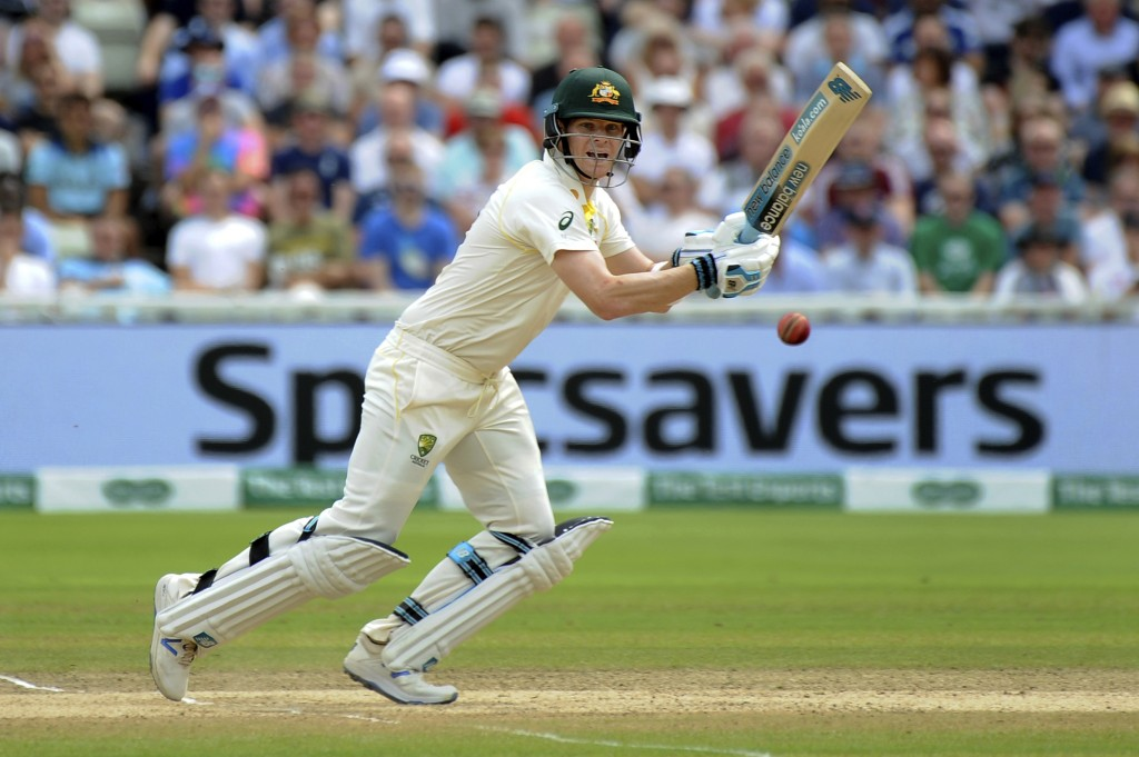 Australia's Steven Smith plays a shot during day four of the first Ashes Test cricket match between England and Australia at Edgbaston in Birmingham, ...