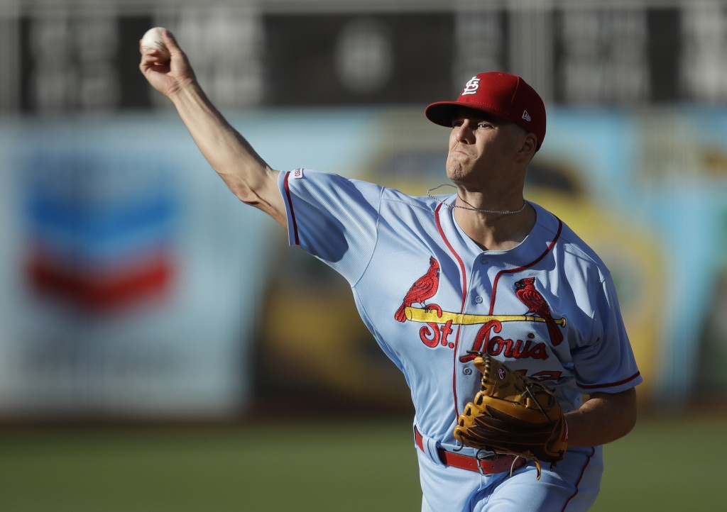 St. Louis Cardinals' pitcher Dakota Hudson works against the Oakland Athletics in the first inning of a baseball game Saturday, Aug. 3, 2019, in Oakla...