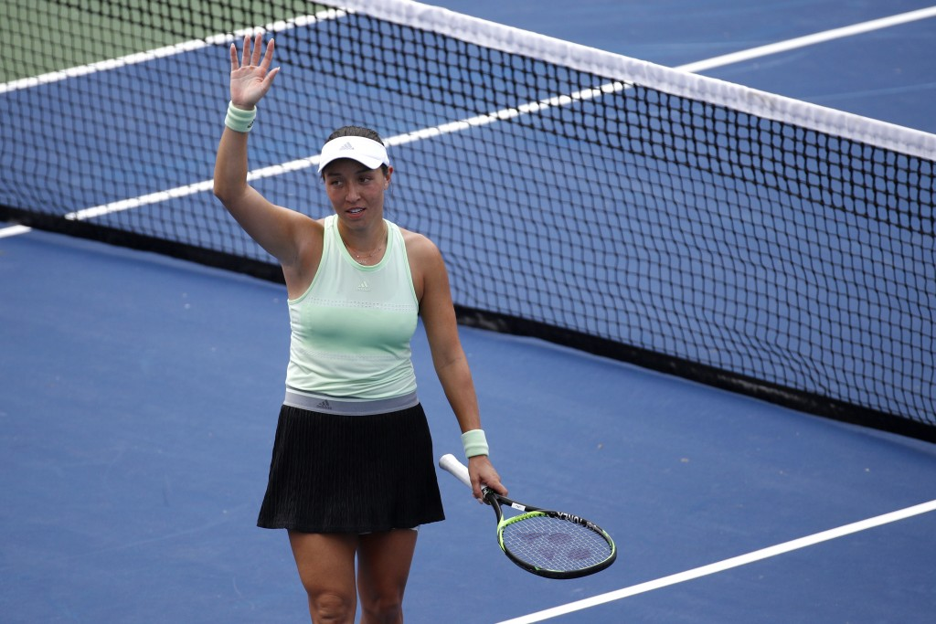 Jessica Pegula acknowledges the crowd after defeating Anna Kalinskaya, of Russia, in a semifinal match at the Citi Open tennis tournament, Saturday, A...