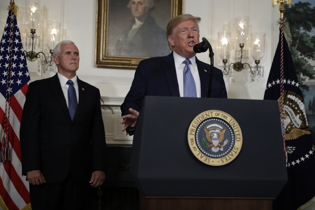 President Donald Trump speaks about the mass shootings in El Paso, Texas and Dayton, Ohio, in the Diplomatic Reception Room of the White House, Monday