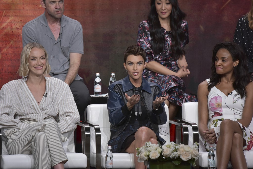 "Rachel Skarsten, from left, Ruby Rose and Meagan Tandy participate in The CW ""Batwoman"" panel during the Summer 2019 Television Critics Association Pr..."