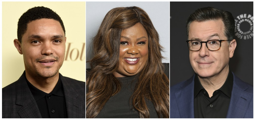 This combination photo shows Trevor Noah, Nicole Byer and Stephen Colbert who are among the headliners announced for the 2019 New York Comedy Festival